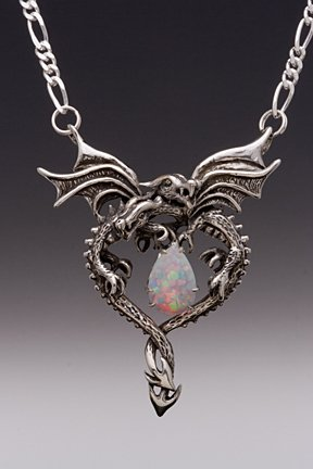 Dragon jewellery pendants sterling silver dragon jewelry at sterling silver dragon heart with opal mozeypictures Gallery